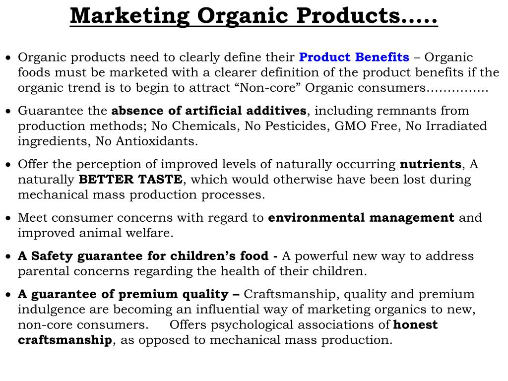 Marketing Organic Products…..
