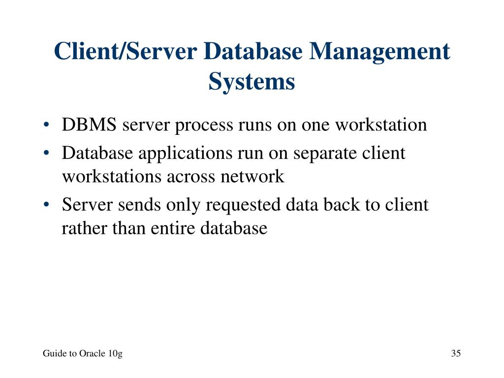 Client/Server Database Management Systems