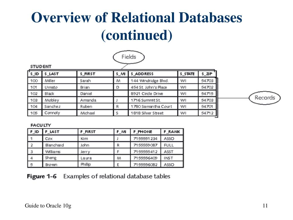 Overview of Relational Databases (continued)