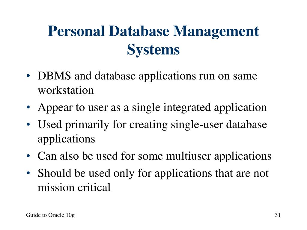 Personal Database Management Systems