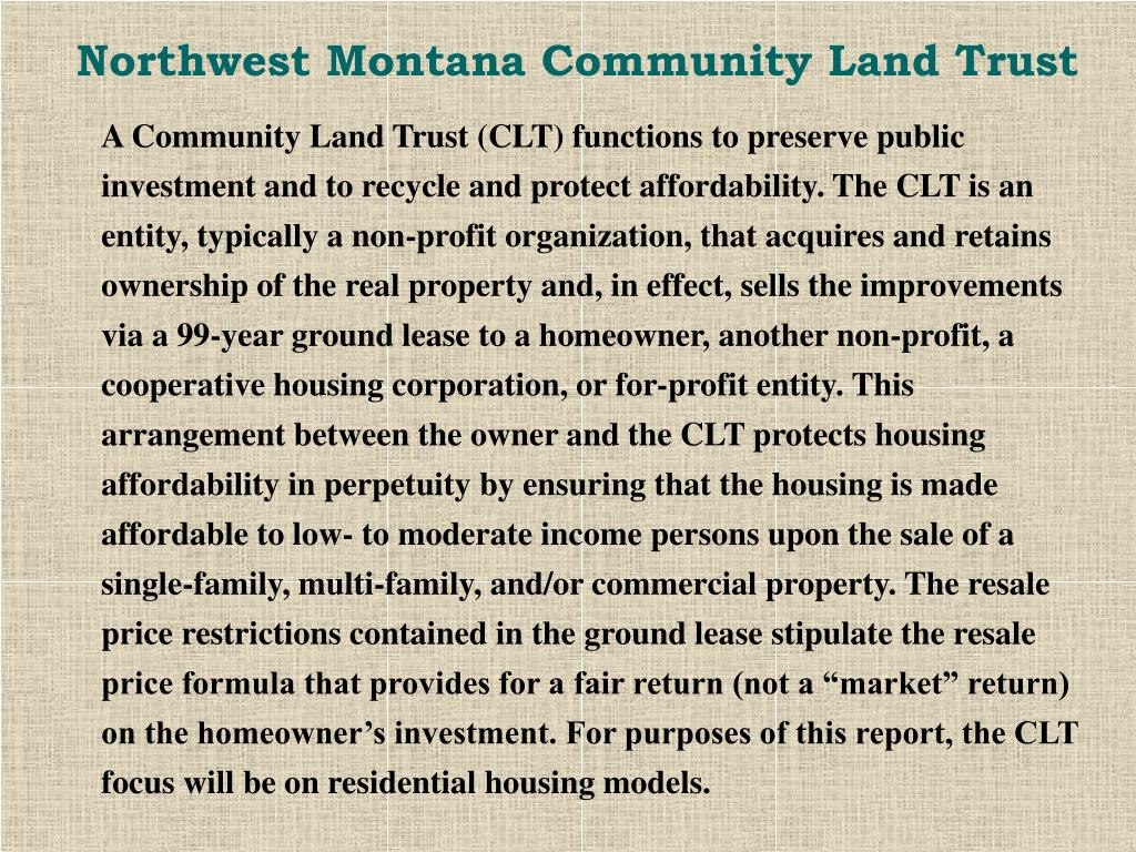 Northwest Montana Community Land Trust