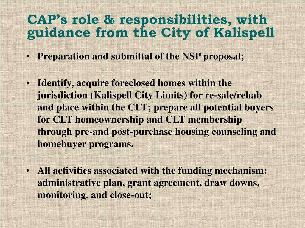 CAP's role & responsibilities, with guidance from the City of Kalispell