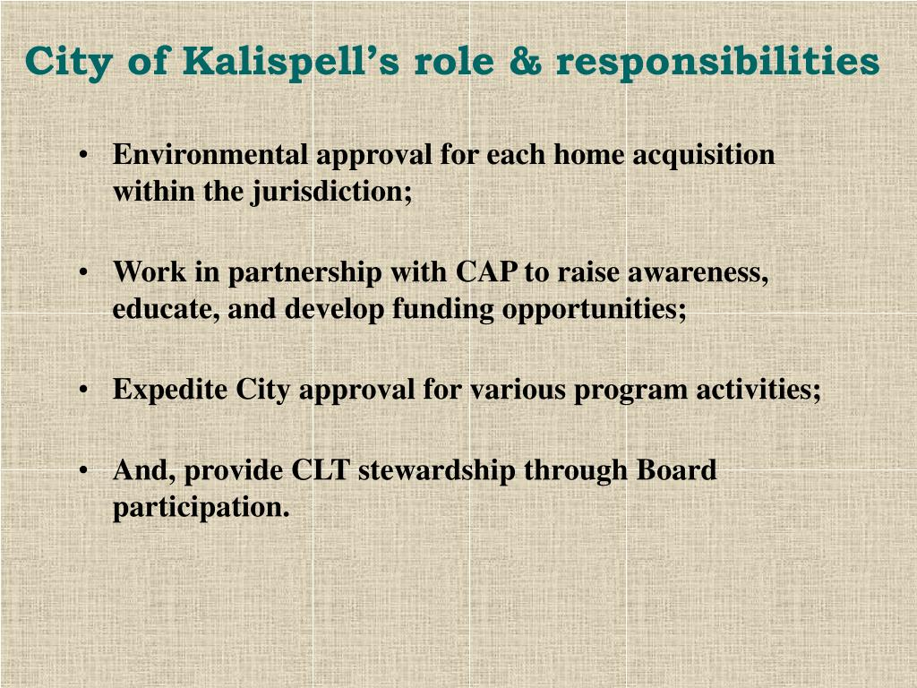 City of Kalispell's role & responsibilities