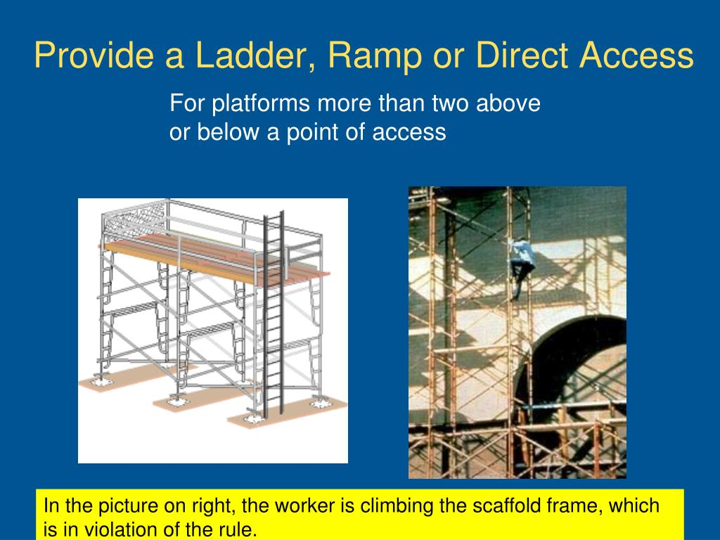 Provide a Ladder, Ramp or Direct Access
