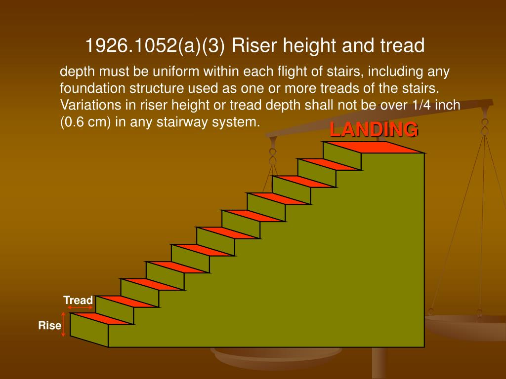 1926.1052(a)(3) Riser height and tread