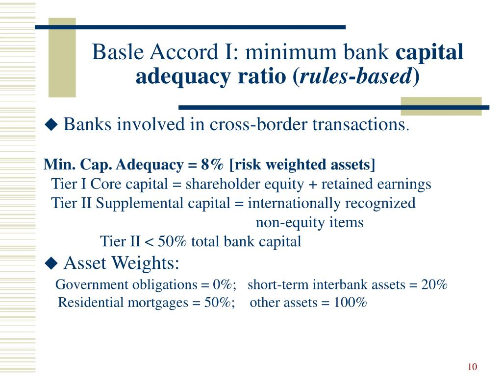 Basle Accord I: minimum bank