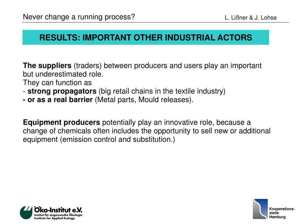 RESULTS: IMPORTANT OTHER INDUSTRIAL ACTORS