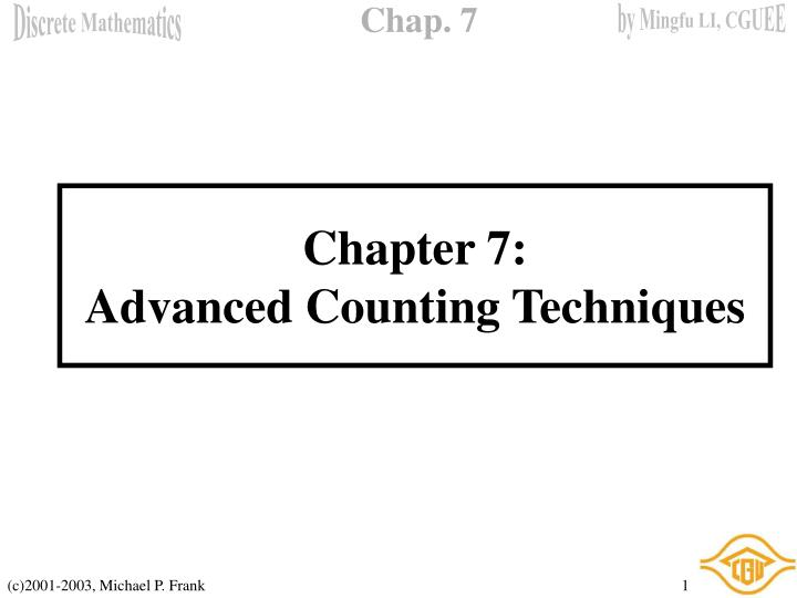 Chapter 7 advanced counting techniques