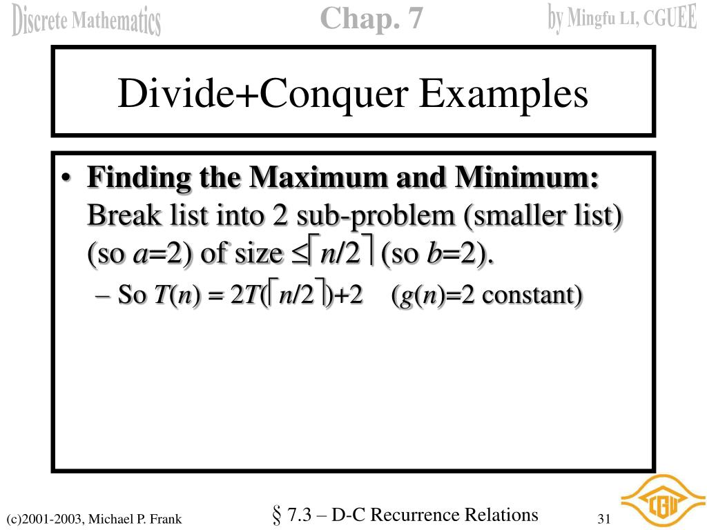 Divide+Conquer Examples