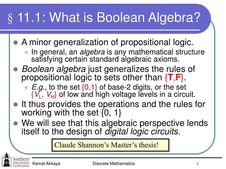 11 1 what is boolean algebra