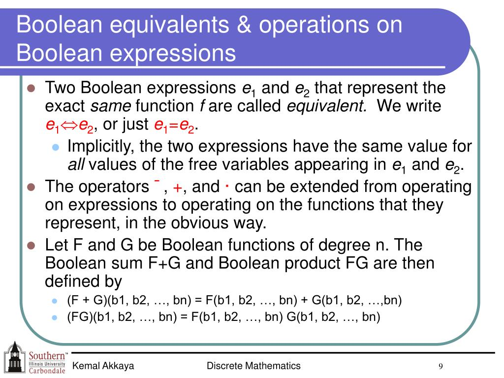 Boolean equivalents & operations on Boolean expressions