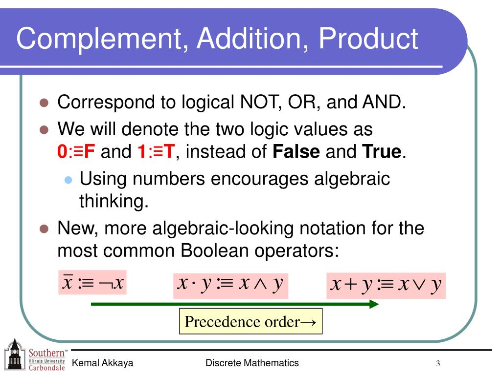Complement, Addition, Product