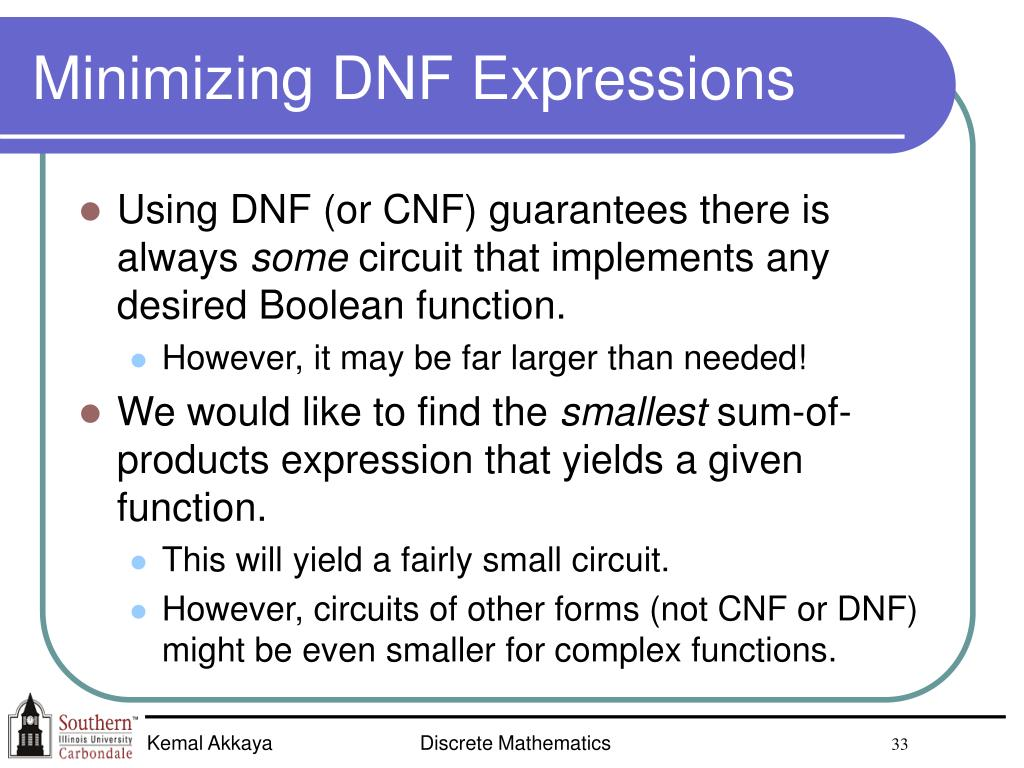 Minimizing DNF Expressions