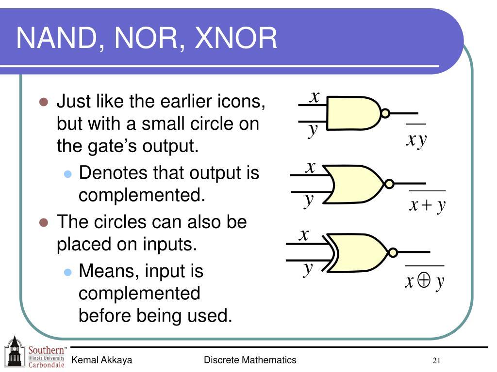 NAND, NOR, XNOR