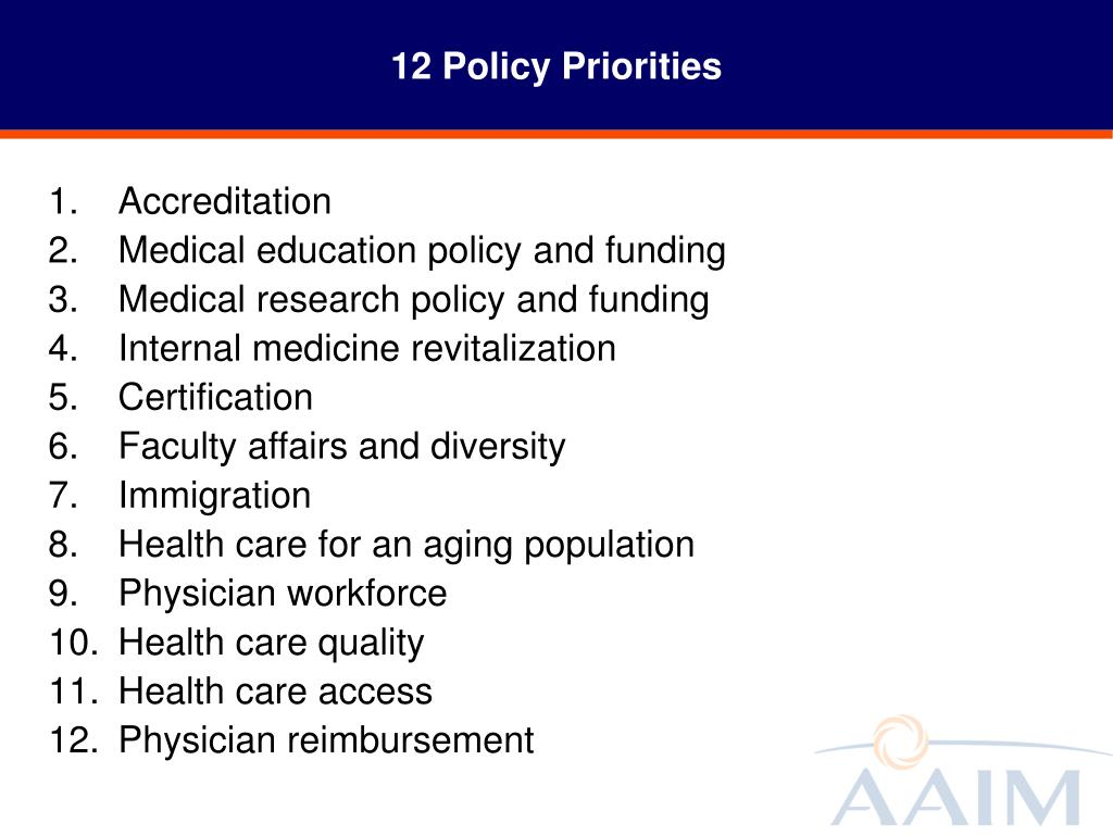 12 Policy Priorities