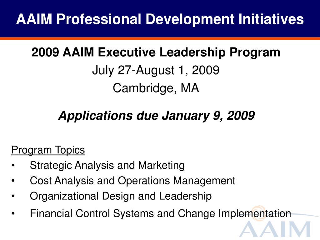AAIM Professional Development Initiatives