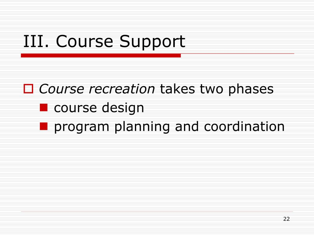 III. Course Support