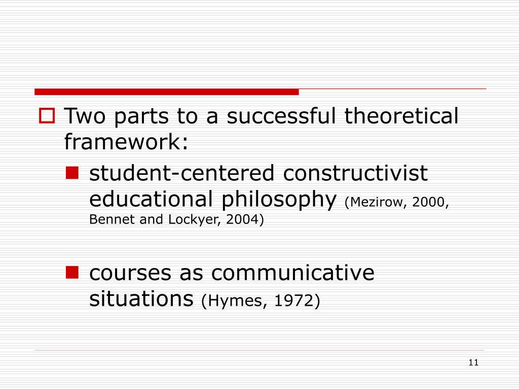 Two parts to a successful theoretical framework: