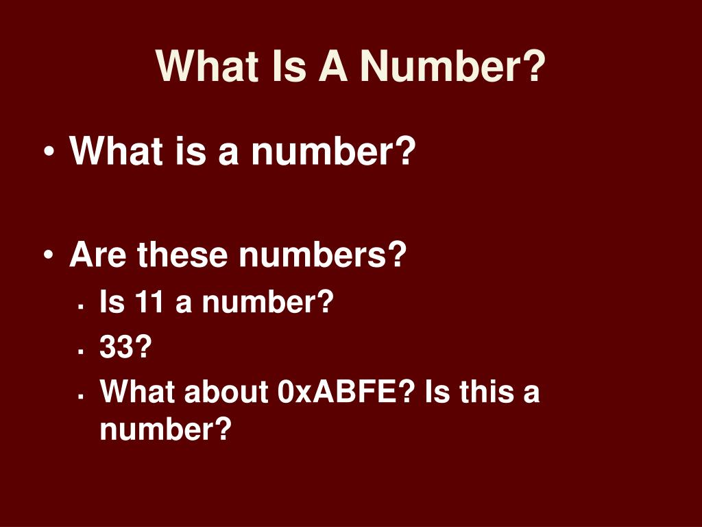 What Is A Number?