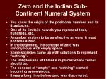zero and the indian sub continent numeral system