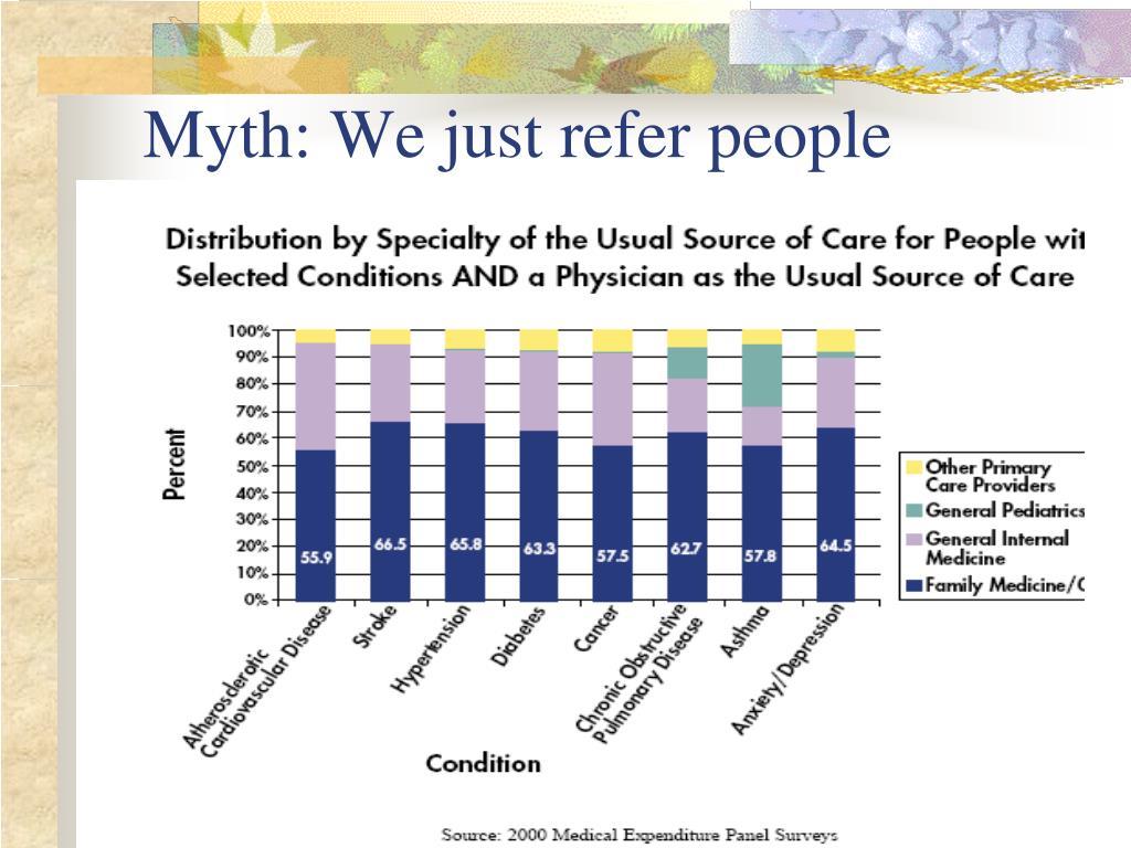 Myth: We just refer people