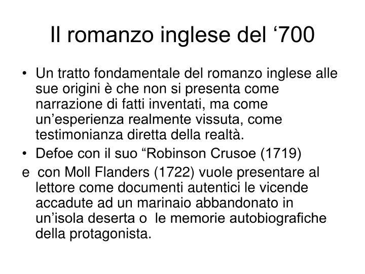 Il romanzo inglese del '700