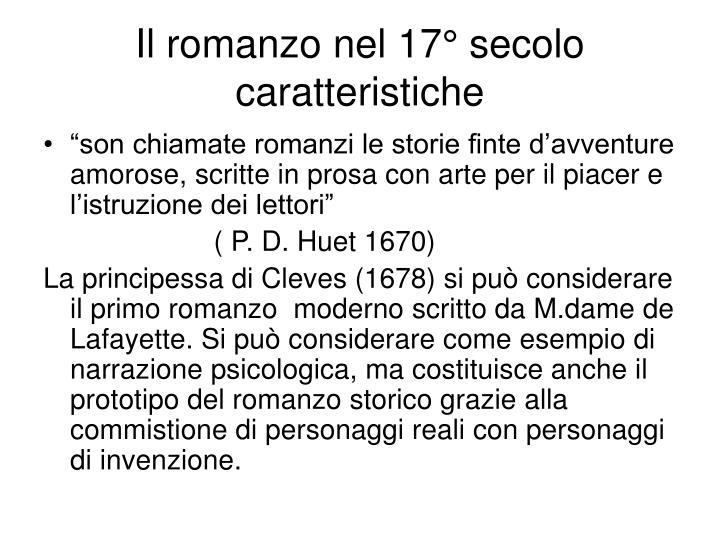 Il romanzo nel 17° secolo