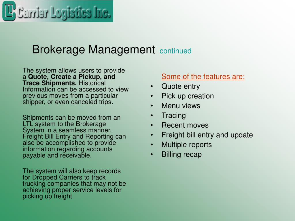 Brokerage Management