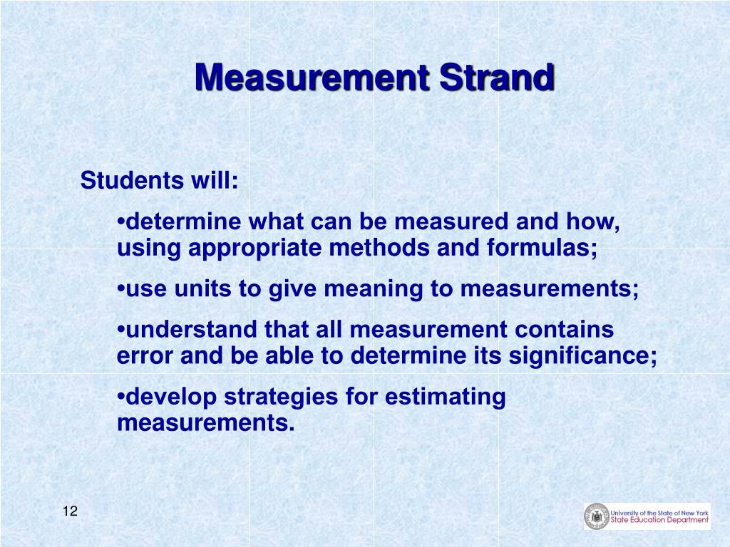 Measurement Strand