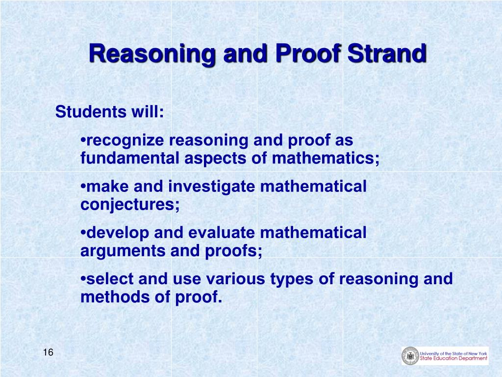 Reasoning and Proof Strand