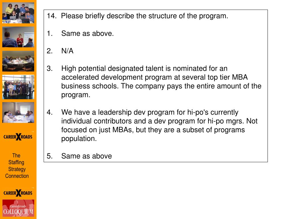 14.  Please briefly describe the structure of the program.