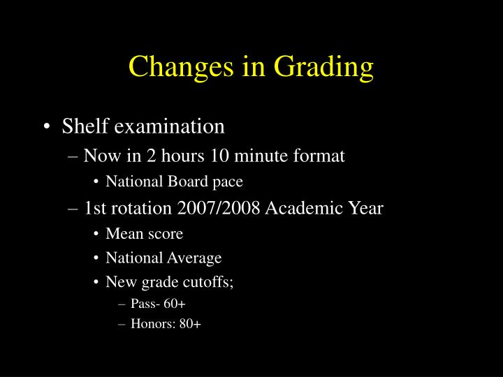 Changes in grading