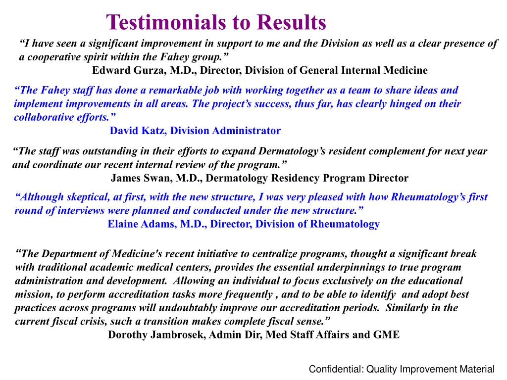 Testimonials to Results