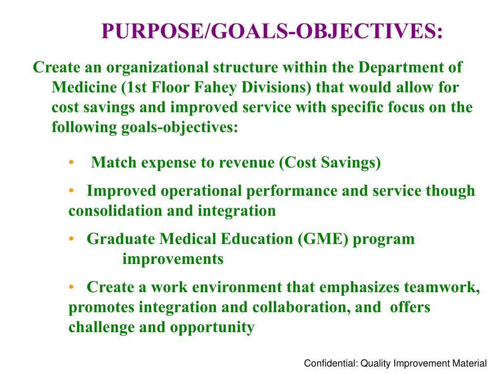 PURPOSE/GOALS-OBJECTIVES: