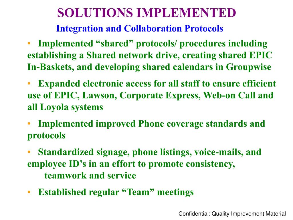 SOLUTIONS IMPLEMENTED