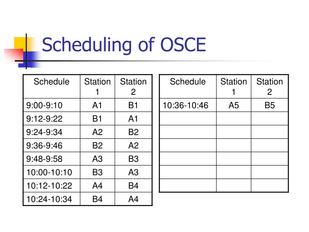 Scheduling of OSCE