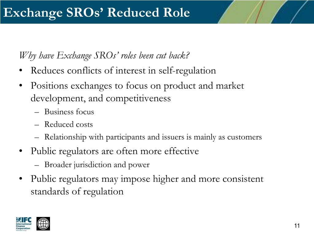 Exchange SROs' Reduced Role
