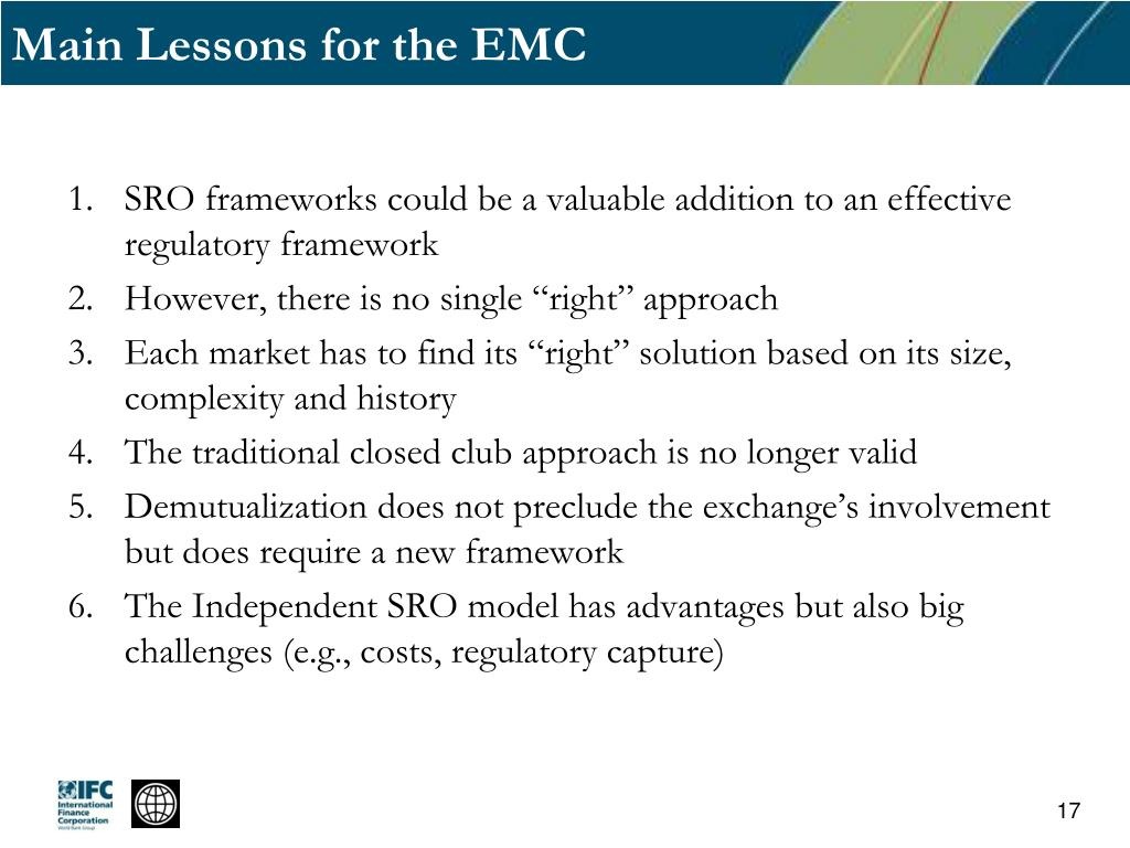 Main Lessons for the EMC