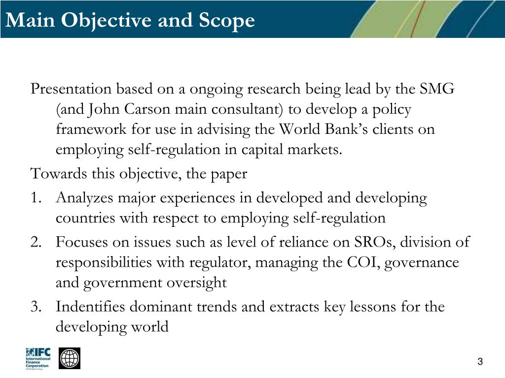 Main Objective and Scope