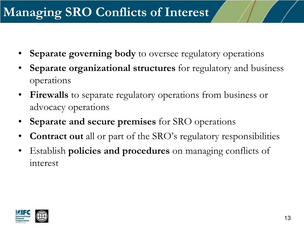 Managing SRO Conflicts of Interest
