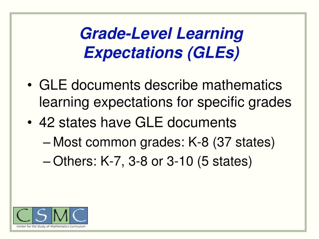 Grade-Level Learning Expectations (GLEs)