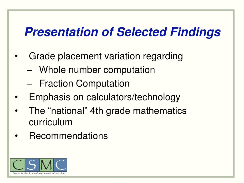 Presentation of Selected Findings