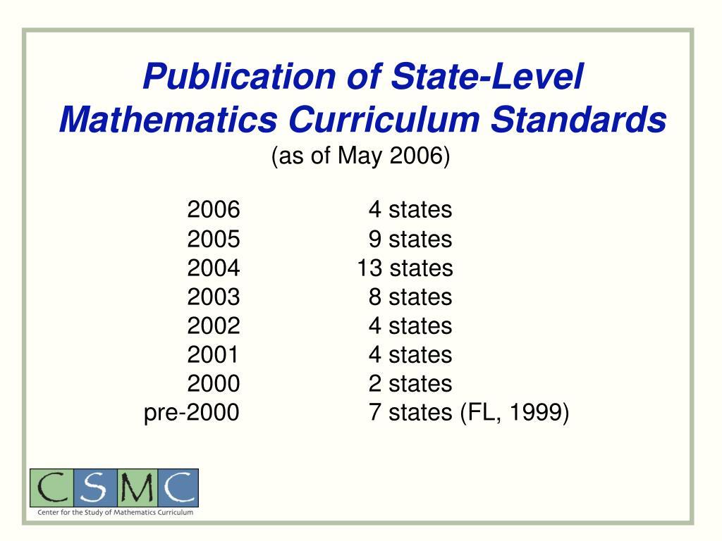 Publication of State-Level Mathematics Curriculum Standards