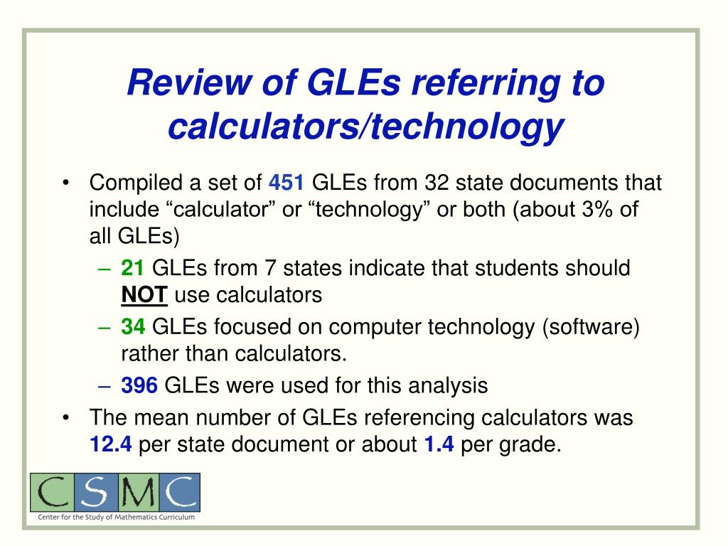 Review of GLEs referring to calculators/technology