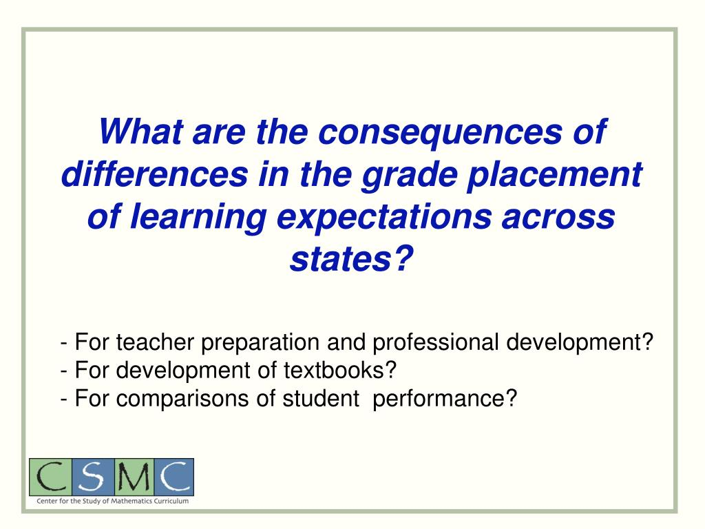 What are the consequences of differences in the grade placement of learning expectations across states?