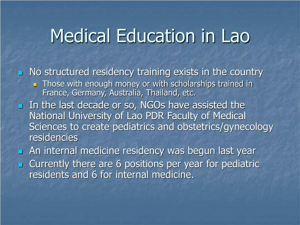 Medical Education in Lao