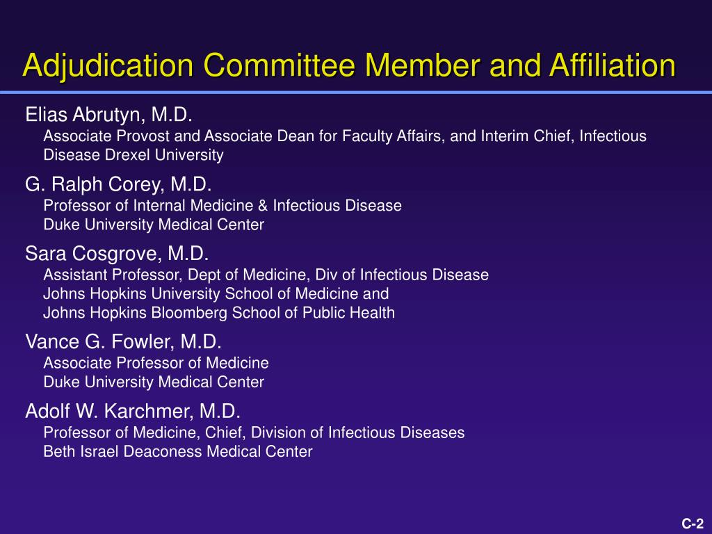 Adjudication Committee Member and Affiliation