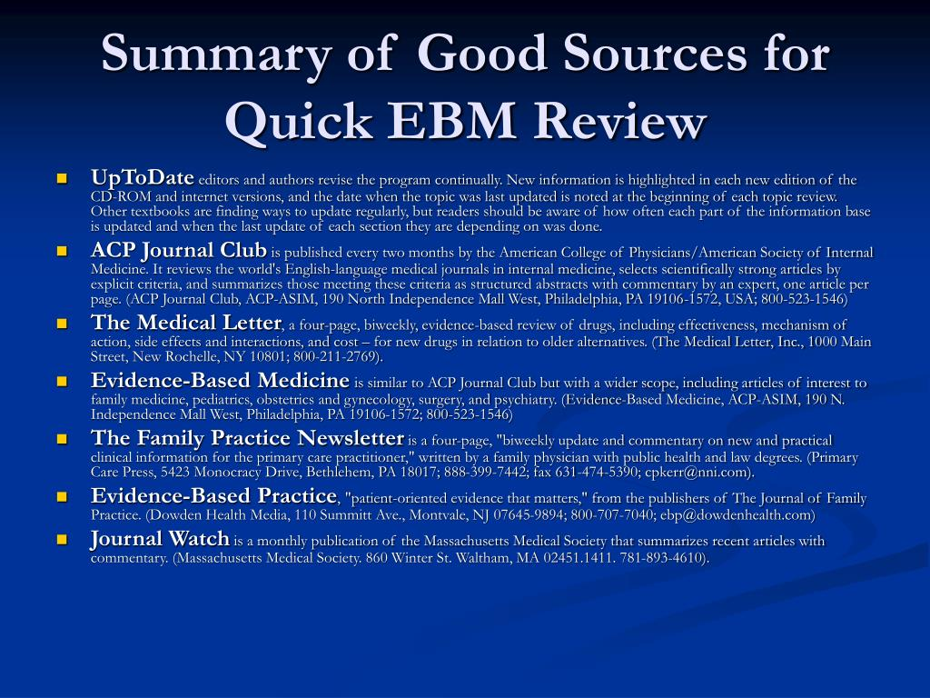 Summary of Good Sources for Quick EBM Review
