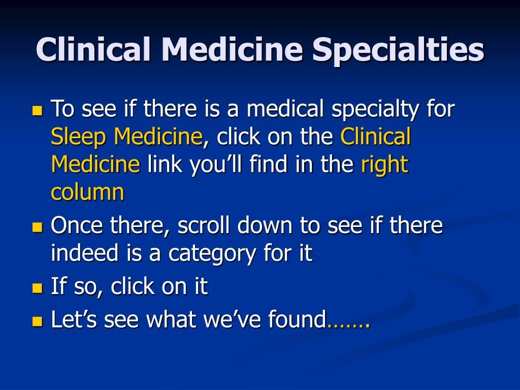 Clinical Medicine Specialties