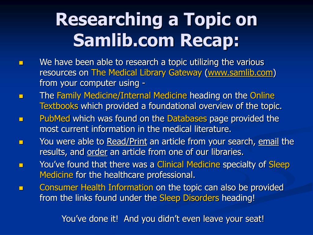 Researching a Topic on Samlib.com Recap: